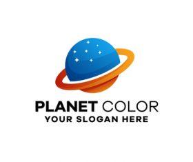 Planet gradient logo template design vector