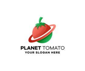 Planet tomato gradient logo design vector
