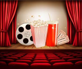 Popcorn cola tickets cinema background vector
