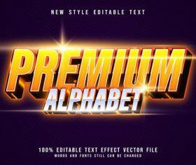 Premium aphabet shiny editable text effect style vector