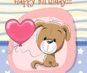 Puppy cartoon illustration birthday card vector