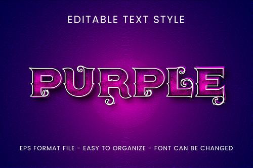 Purple editable text style vector