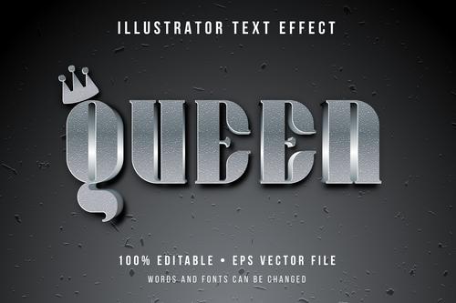 Queen illustrator text effect vector