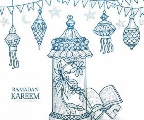 Quran with decorative background vector