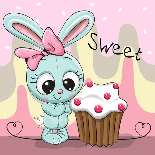 Rabbit cartoon illustration vector looking at cake