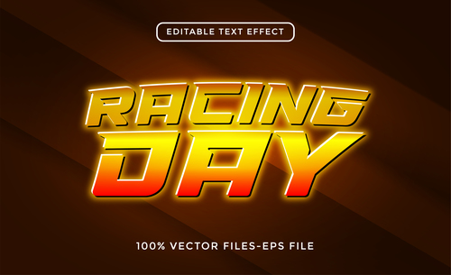 Racing day text effect vector