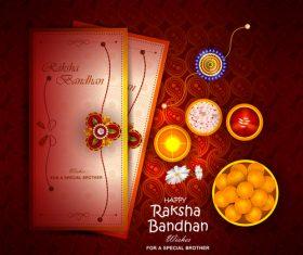 Raksha bandhan card and decorative items vector