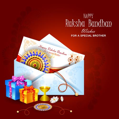 Raksha bandhan greeting card and gift background vector