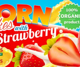 Realistic corn flakes with sweet and delicious strawberry advertising illustration vector