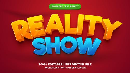 Reality show cartoon style 3d template vector