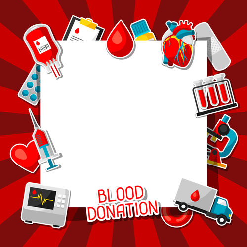 Red background blood donation vector