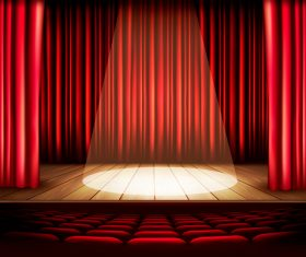 Red curtain with lighting fittings vector