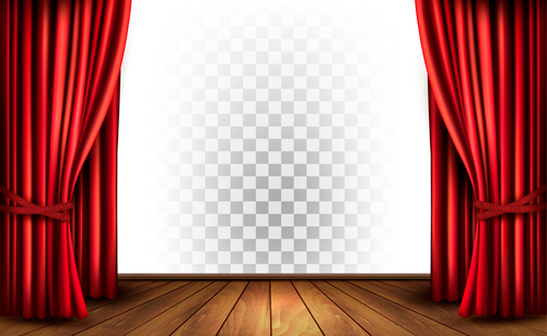 Red curtains and wooden floor and transparent background vector