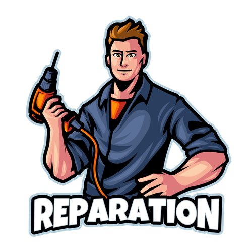 Reparation logo design template vector