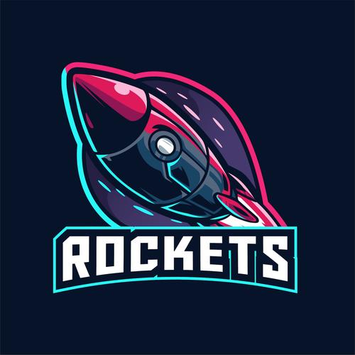 Rocket logo template design vector