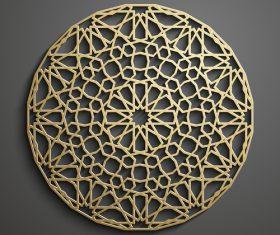 Round golden pattern background vector