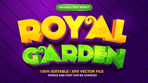 Royal garden cartoon style 3d template vector