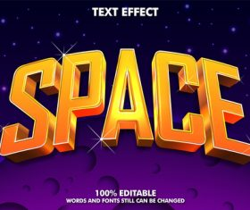 SPACE relief editable text effect vector