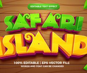 Safari island cartoon style 3d template vector