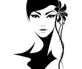 Short hair flower headdress vector
