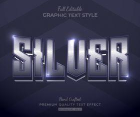 Silver editable text style vector