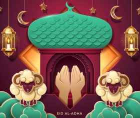 Sincere prayer eid al adha background vector