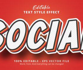 Social editable eps text effect vector