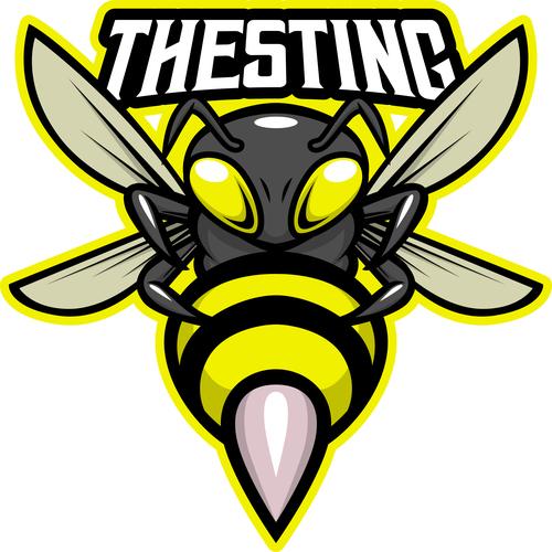 Sting bee esport logo template vector