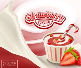 Strawberry sweet caramel yogurt advertising illustration vector
