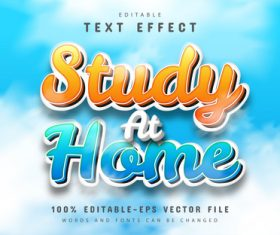 Study at home text effect editable vector
