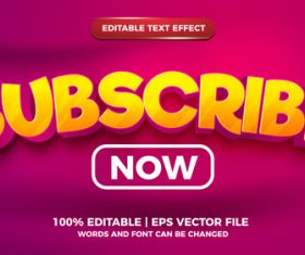 Subscribe now cartoon style 3d template vector