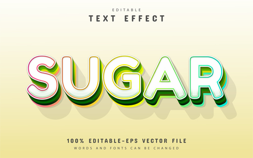 Sugar text editable 3d text effect vector