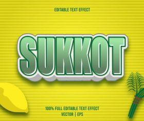 Sukkot text effect vector