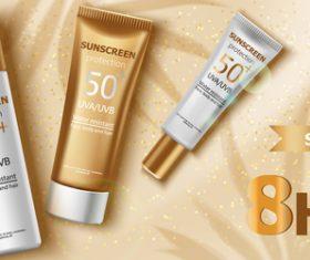 Sunscreen protection cosmetics vector