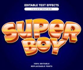 Super boy editable text effects vector