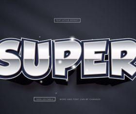 Super chrome text effect 3D vector
