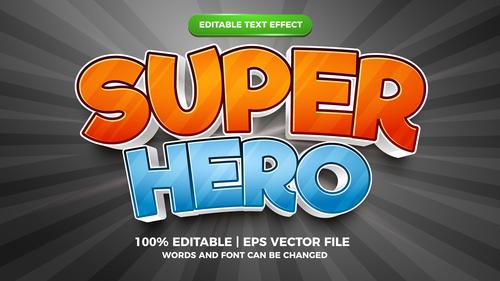 Super hero cartoon style 3d template vector