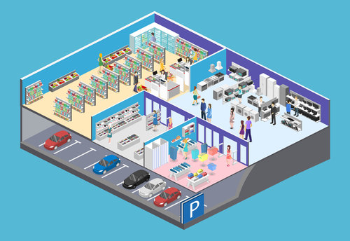 Supermarket and parking lot illustration vector