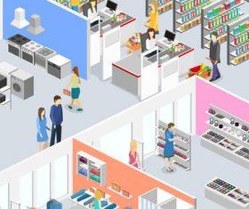 Supermarket cartoon illustration vector