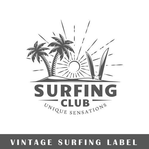 Surfing club card vector