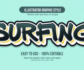 Surfing illustrator graphic style vector