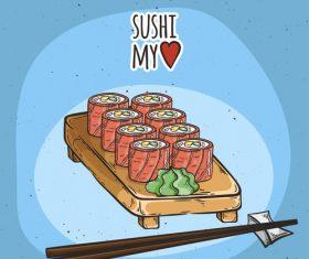 Sushi rice roll vector