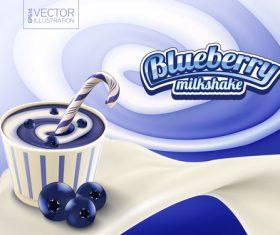 Sweet blueberry milkshake vector 3d illustration