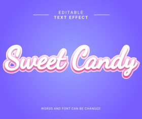 Sweet candy editable eps text effect vector