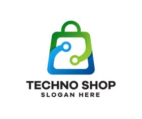 Techno shop gradient logo design vector