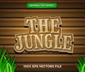 The jungle text effect vector