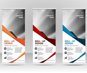Three-color vertical business banners vector