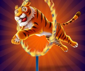 Tiger jumping through fire ring circus performance vector