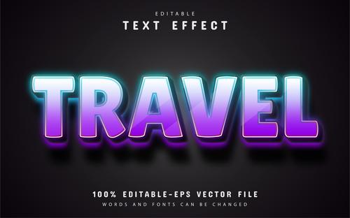 Travel text editable purple glow text effect vector