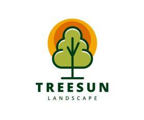 Treesun landscape logo vector